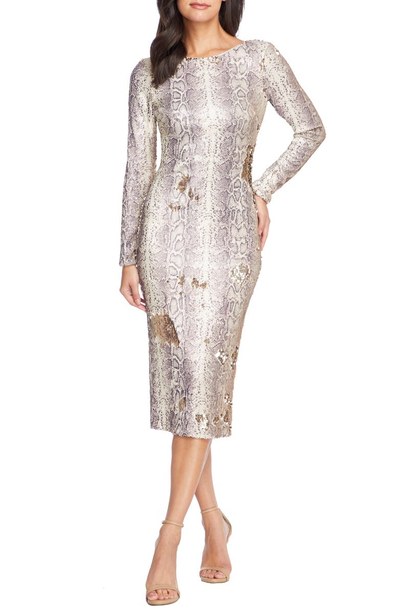 DRESS THE POPULATION Emery Long Sleeve Sequin Sheath Dress, Main, color, PYTHON GOLD MULTI