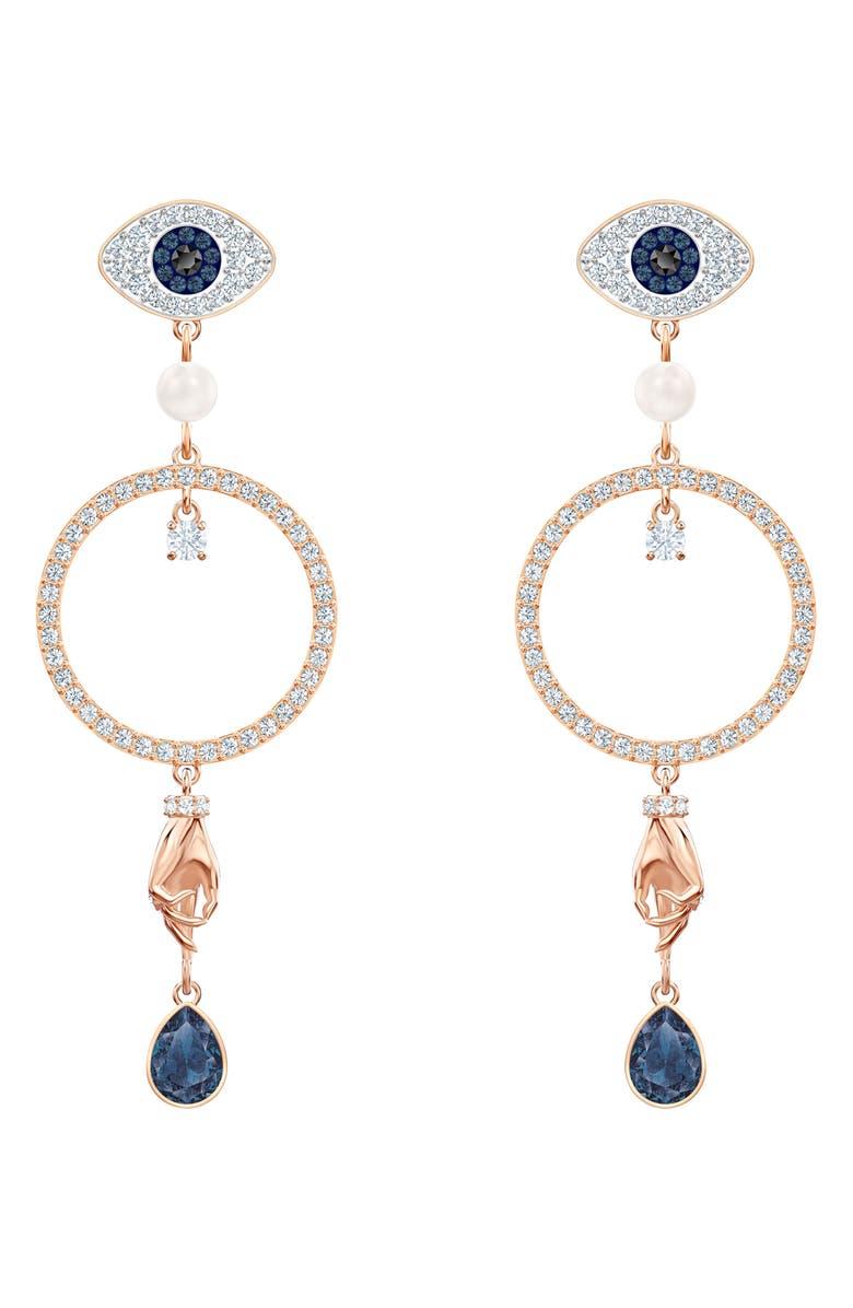 SWAROVSKI Symbolic Hoop Drop Earrings, Main, color, LIGHT MULTI