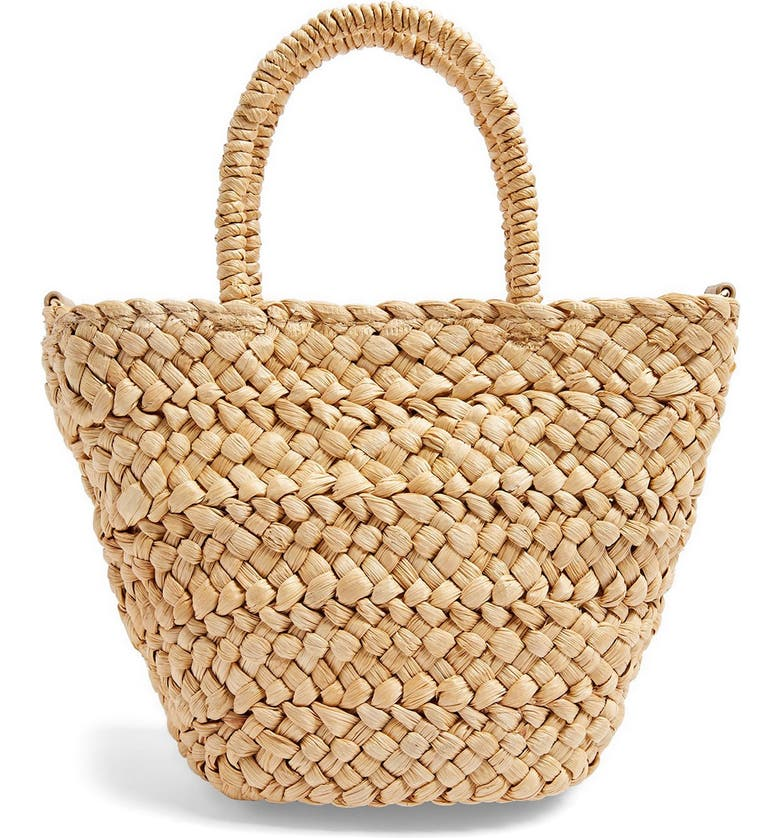 TOPSHOP Rhodes Mini Straw Tote Bag, Main, color, NUDE