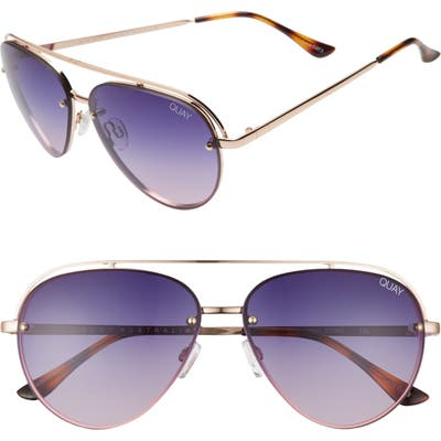 Quay Australia Long Story 60Mm Gradient Aviator Sunglasses - Gold/ Purple