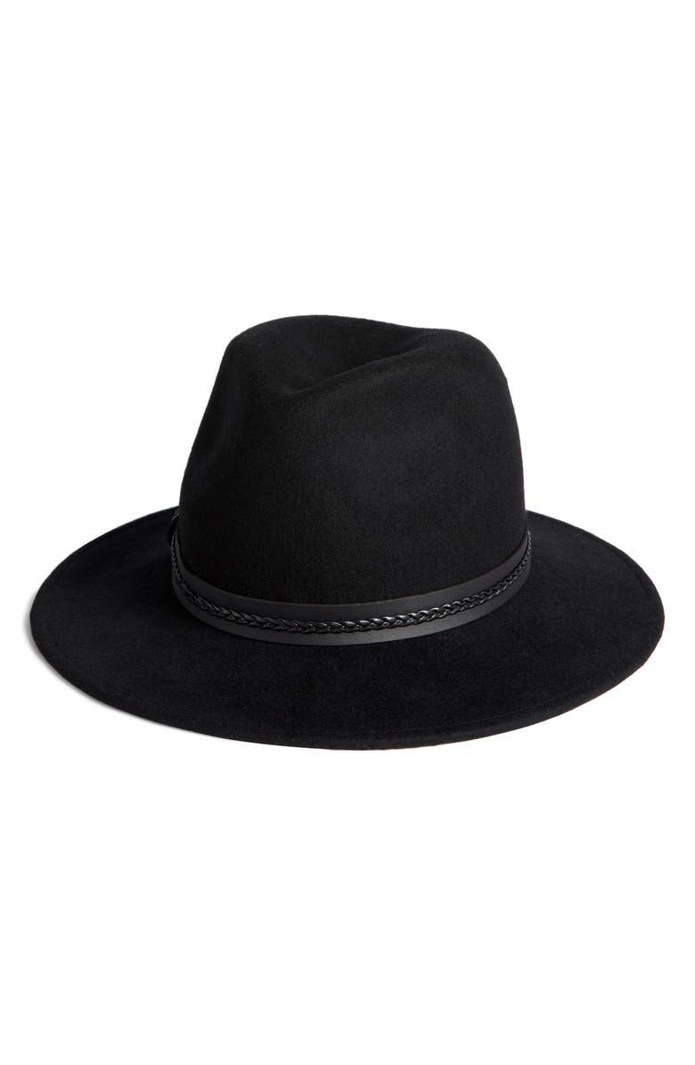 SOMETHING NAVY Braided Trim Felted Wool Panama Hat, Main, color, BLACK