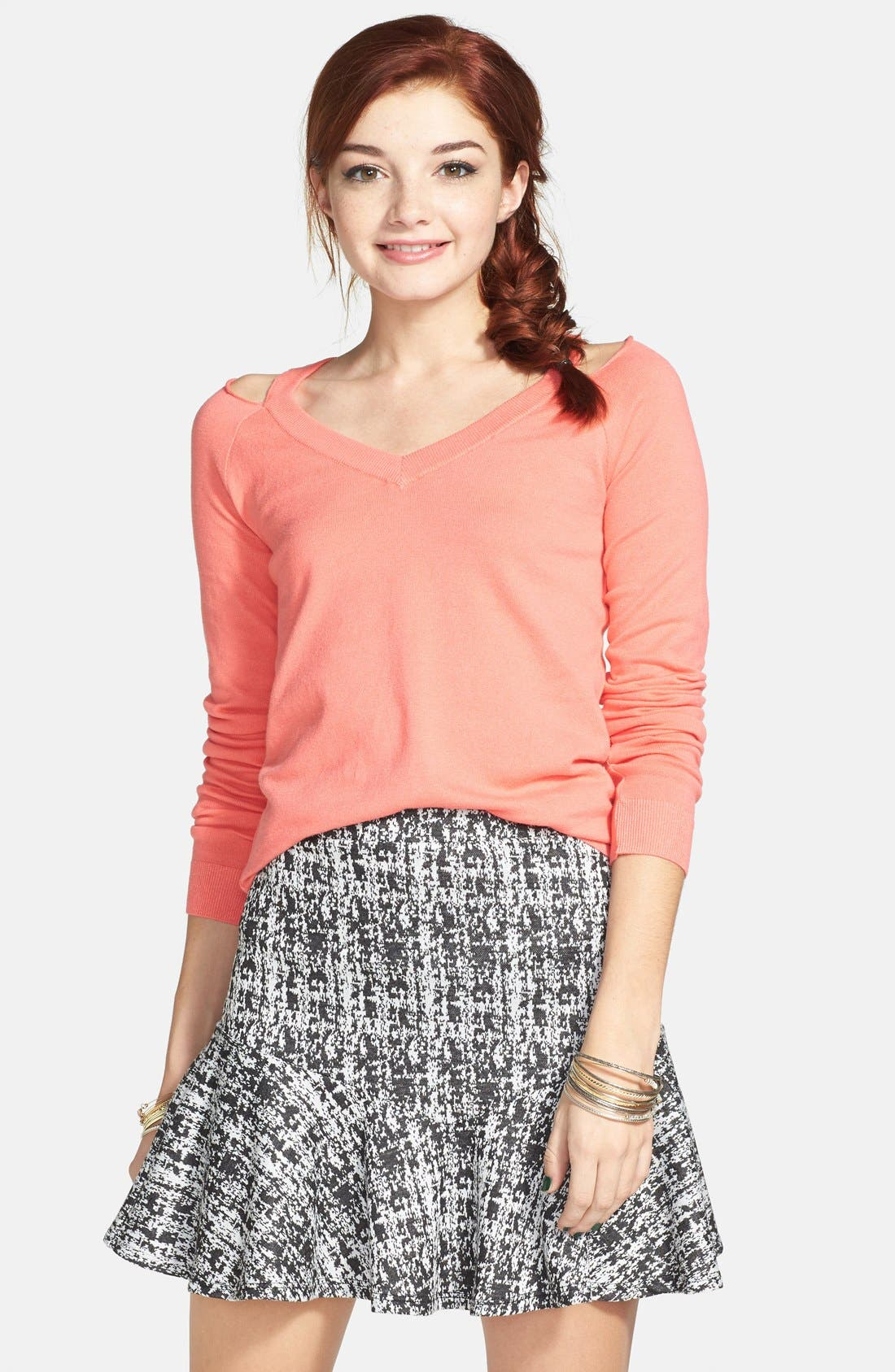 ,                             Ruffle Peplum Skirt,                             Main thumbnail 1, color,                             001