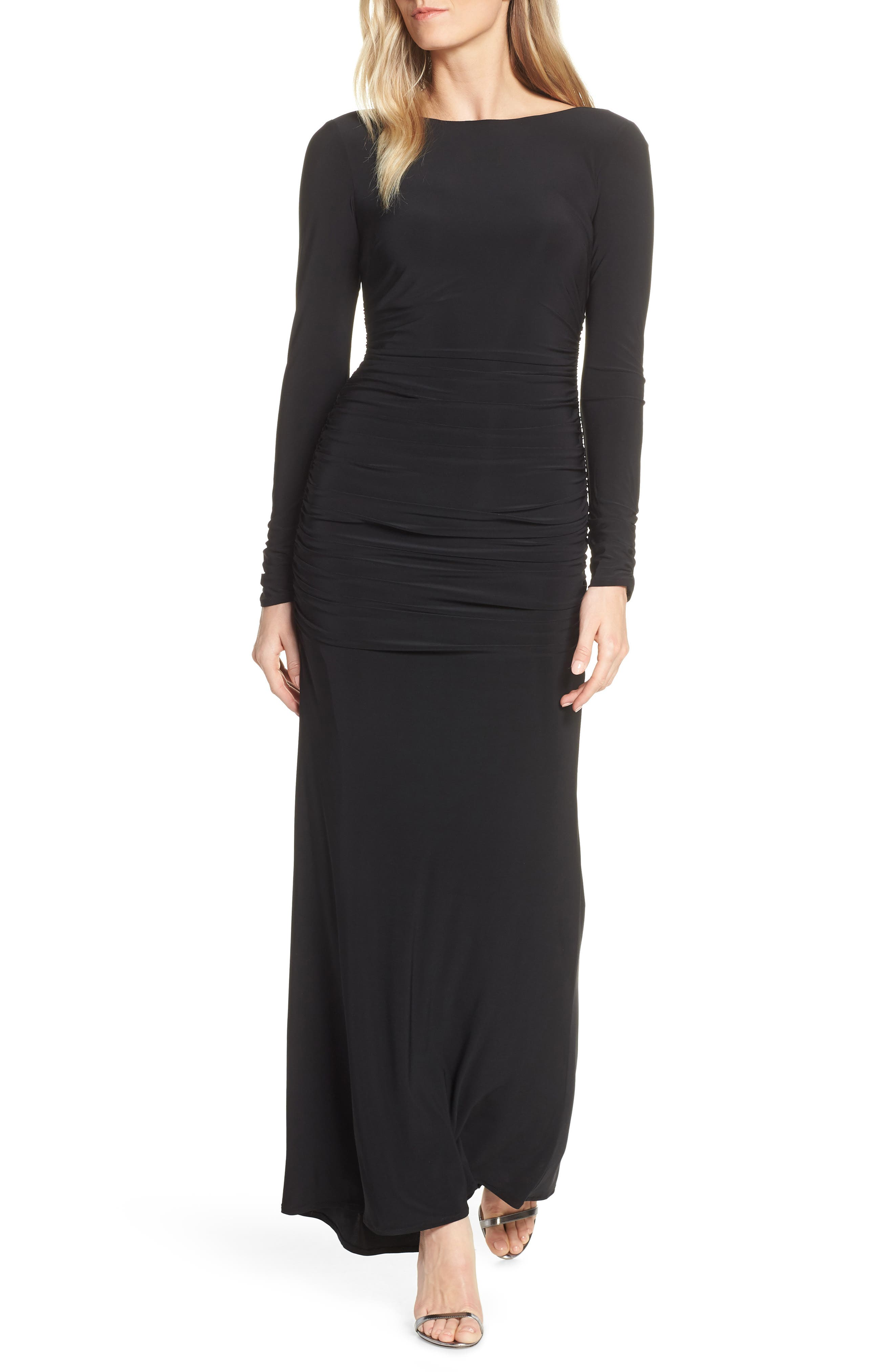 Vince Camuto Ruched Evening Dress, Black