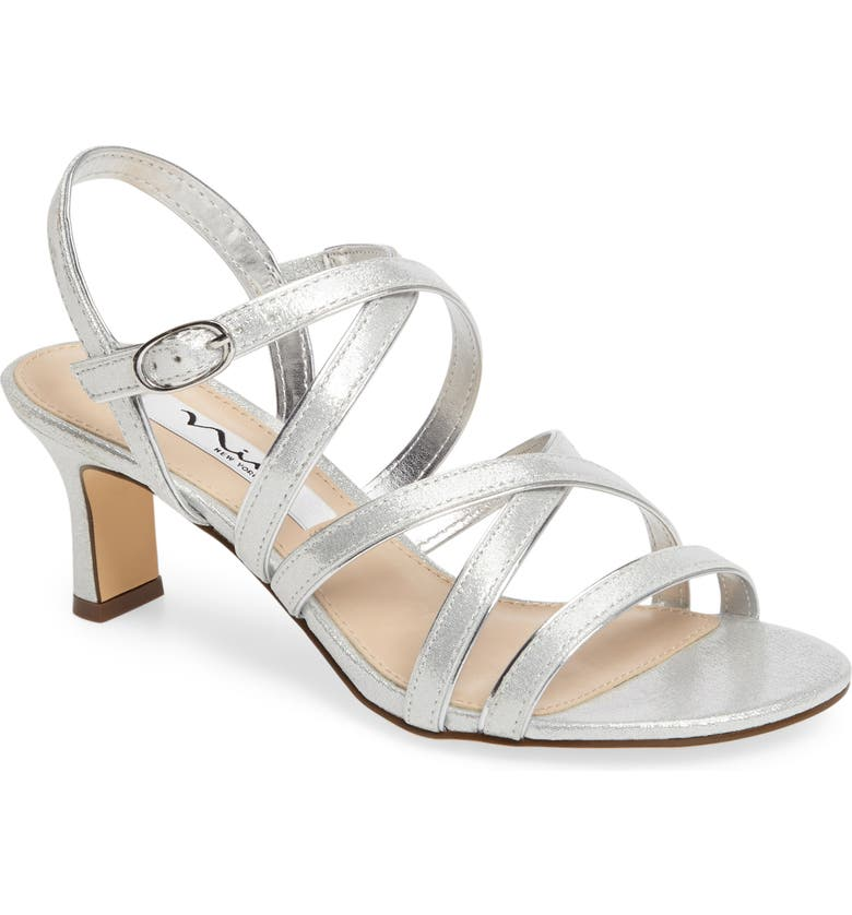 NINA Genaya Strappy Evening Sandal, Main, color, SILVER FAUX LEATHER