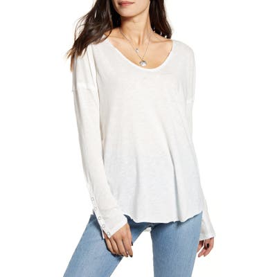 Free People Sienna Snap Cuff Cotton Blend Tee, White