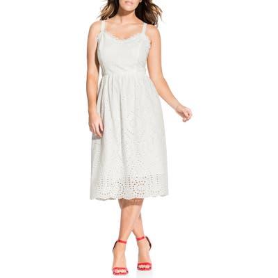 Plus Size City Chic Cotton Eyelet Fit & Flare Dress, Ivory