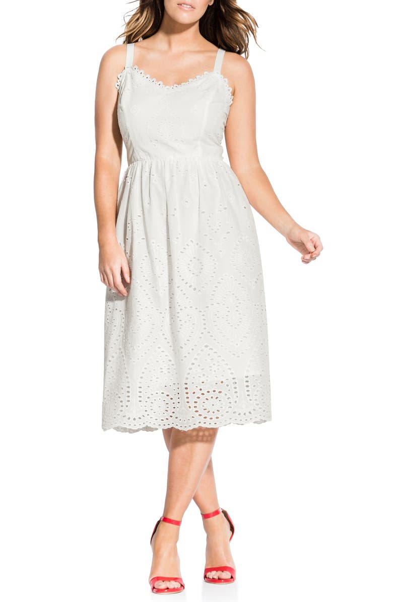 CITY CHIC Cotton Eyelet Fit & Flare Dress, Main, color, IVORY