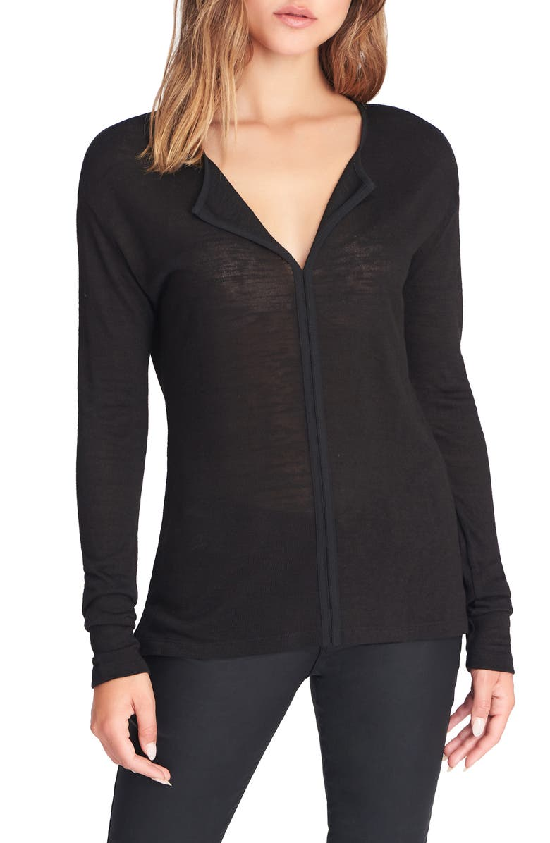 SANCTUARY Elina Split Neck Long Sleeve Tee, Main, color, BLACK