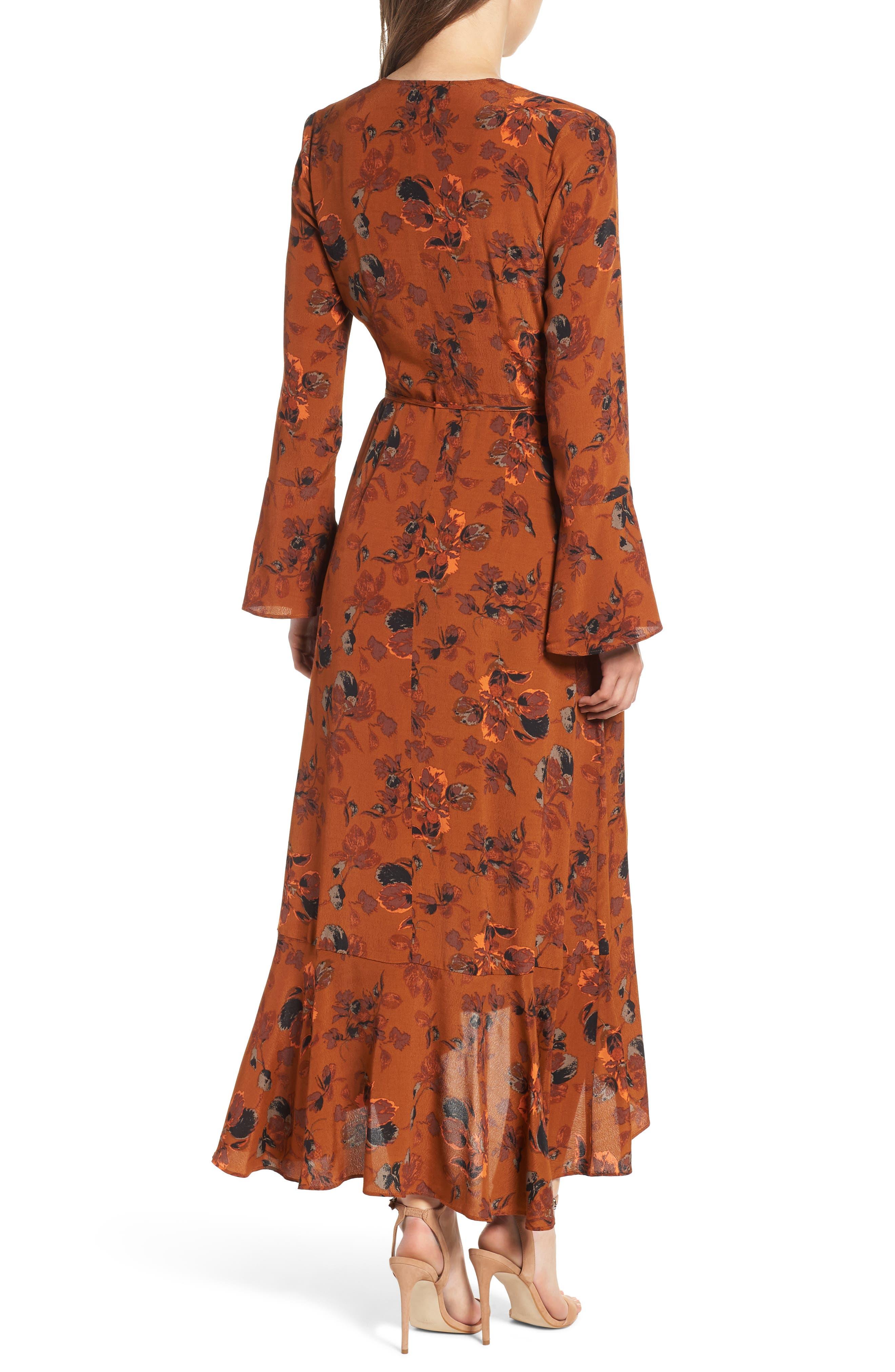,                             Bell Sleeve Wrap Midi Dress,                             Alternate thumbnail 2, color,                             RUST CARMEL FALL FOLIAGE
