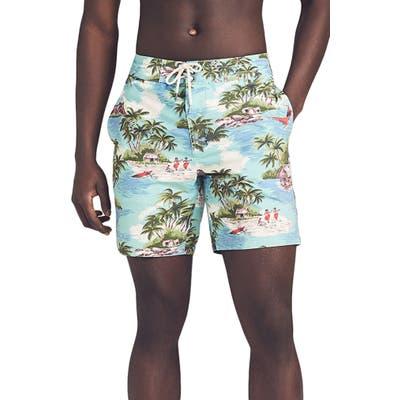 Faherty Classic Board Shorts, Blue/green