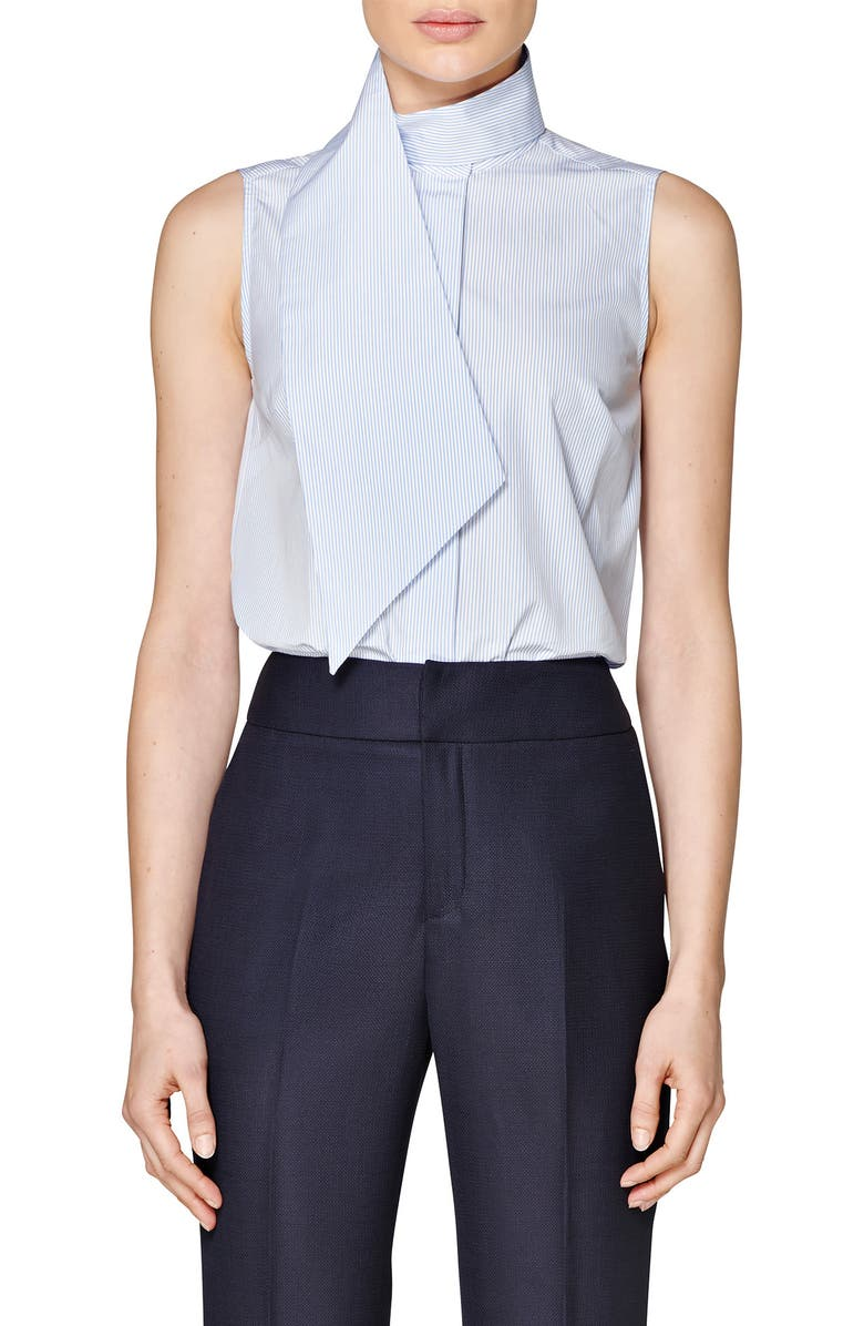Dorian Wrap Collar Sleeveless Cotton Shirt by Suistudio