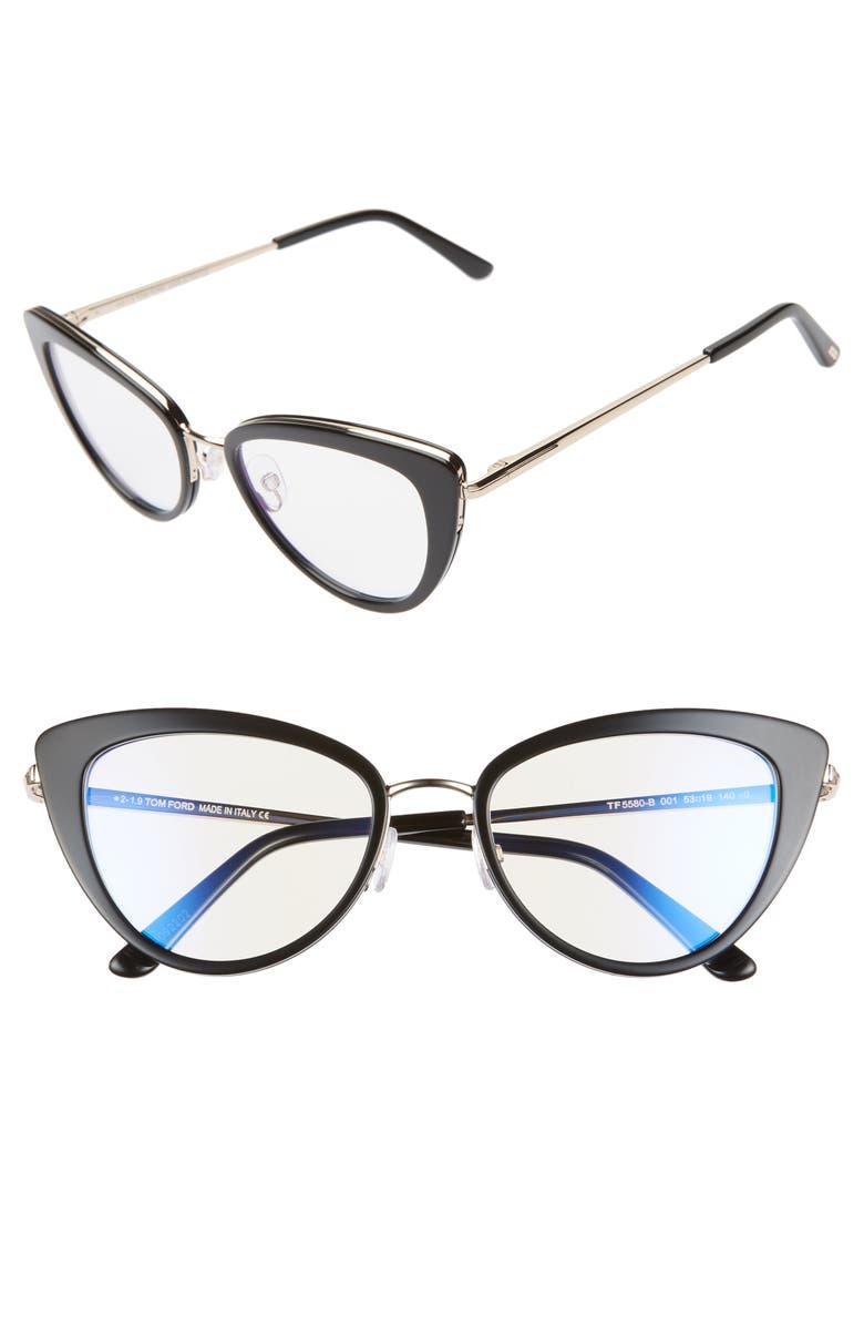 TOM FORD 53mm Cat Eye Blue Light Blocking Glasses, Main, color, SHINY BLACK/ GOLD