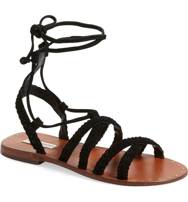 TOPSHOP 'Farewell' Gladiator Sandals, Main, color, 001
