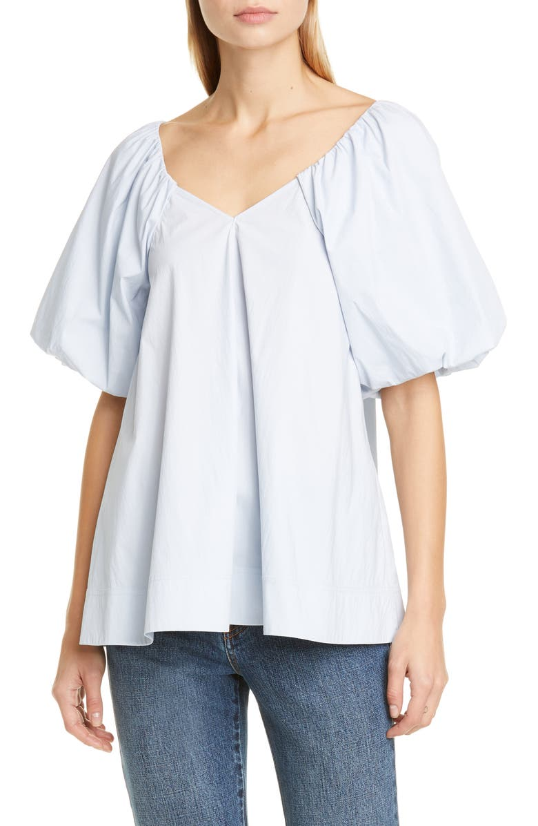 CO Puff Sleeve Top, Main, color, BLUE