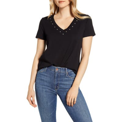 Vince Camuto Studded V-Neck Cotton Blend T-Shirt, Black