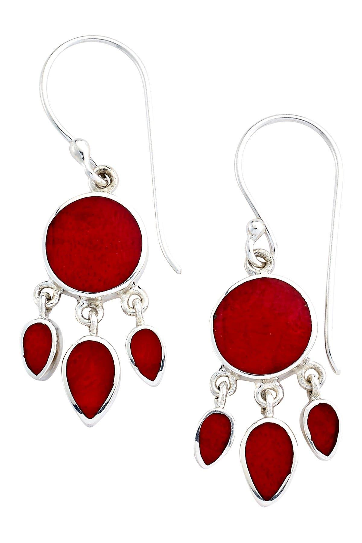 Samuel B Jewelry Sterling Silver Bezel Set Coral Chandelier Earrings Nordstrom Rack