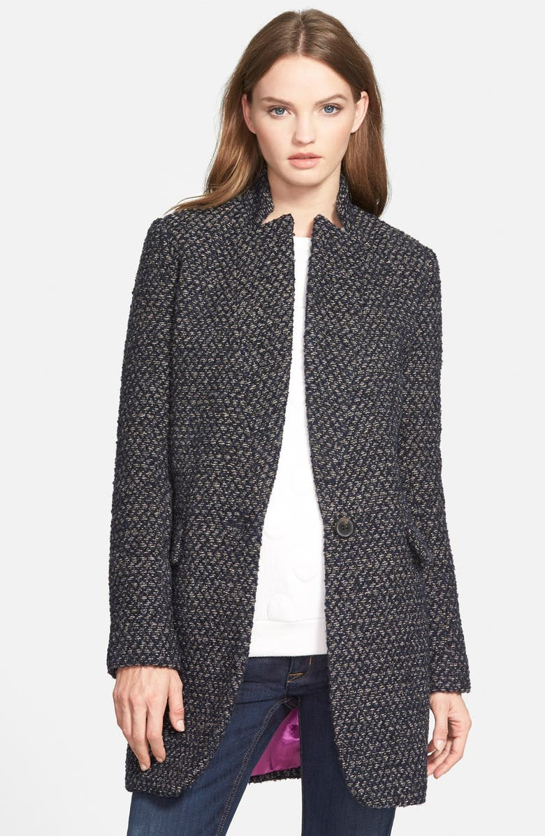 BCBGENERATION Inverted Notch Tweed Coat, Main, color, 410
