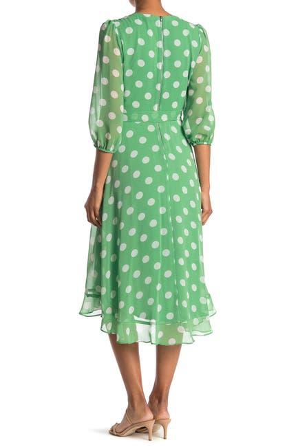 Image of Gabby Skye Polka Dot Faux Wrap Chiffon Midi Dress