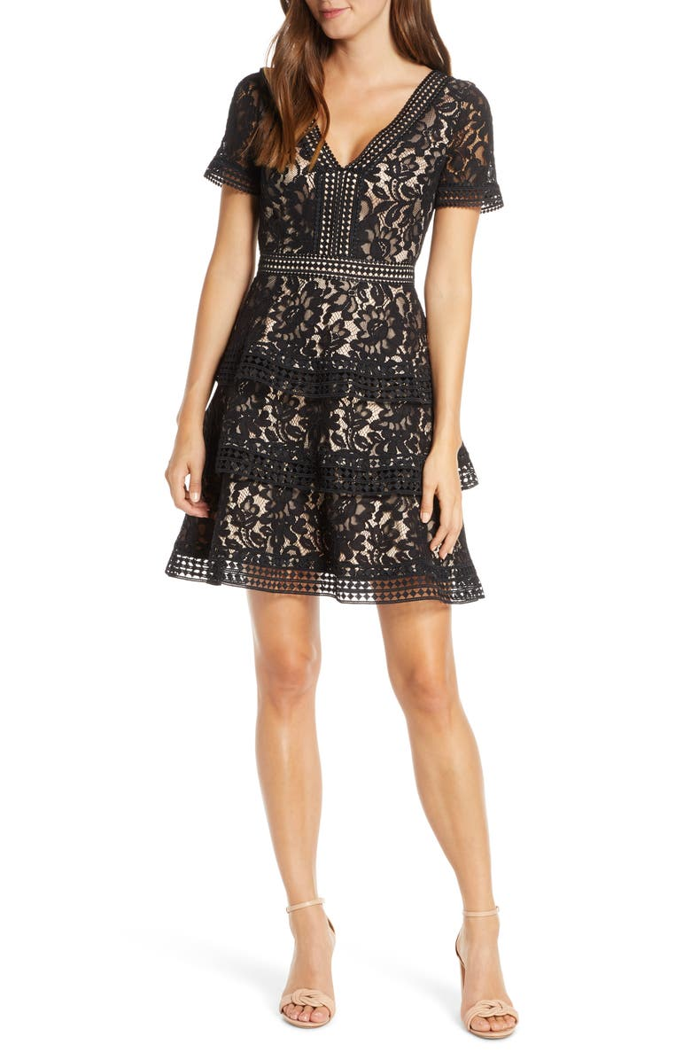 ELIZA J Tiered Lace Fit & Flare Cocktail Dress, Main, color, 001