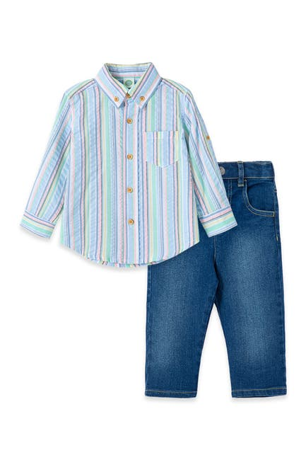 Image of Little Me Striped 2-Piece Shirt & Jeans Set