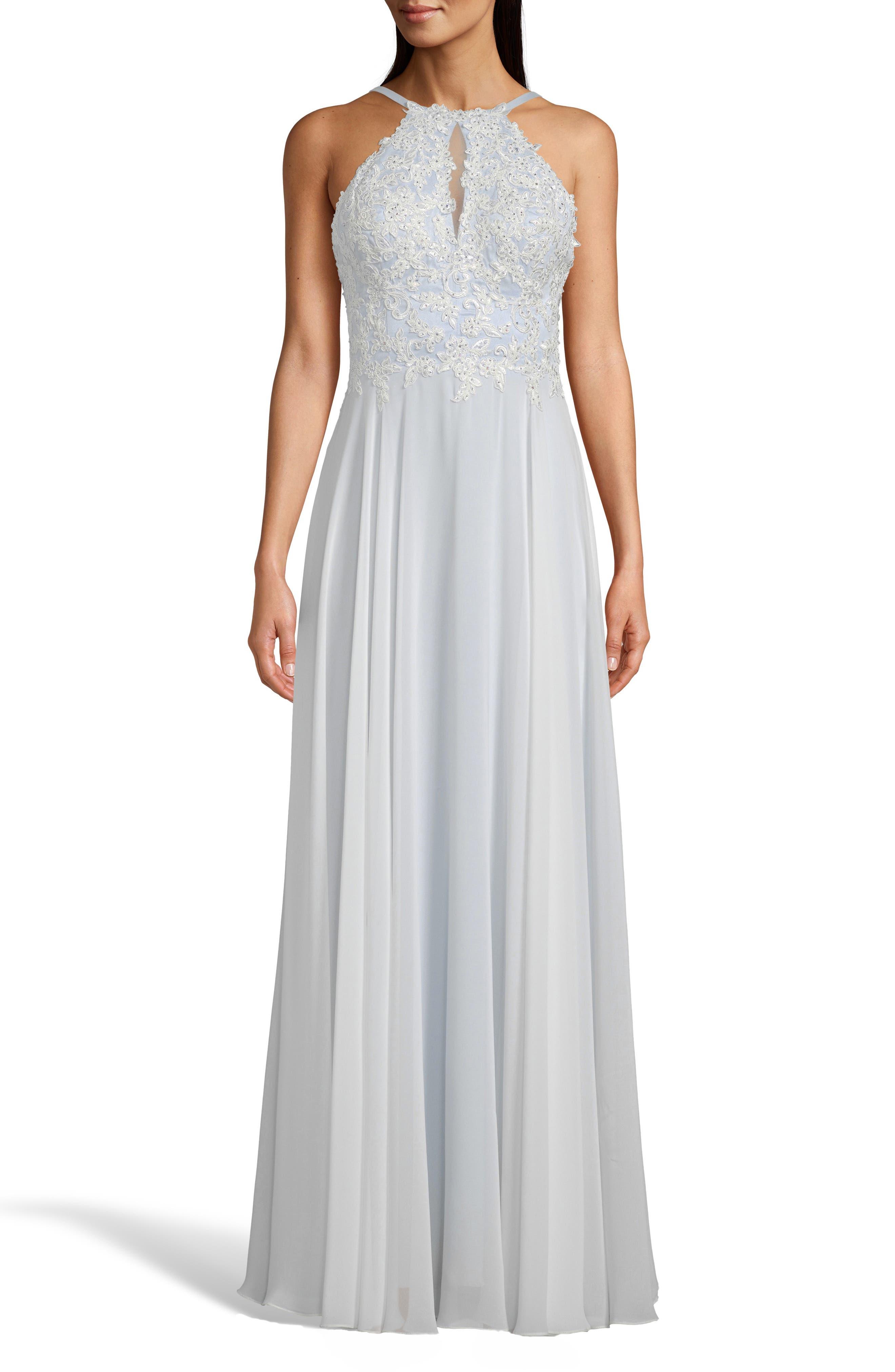 5c3636fab2b8 Xscape Beaded 3D Floral Lace Chiffon Evening Dress