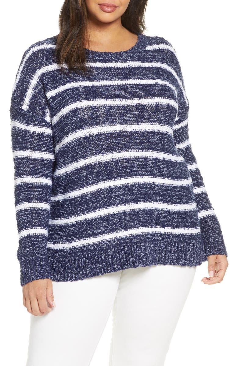 CASLON<SUP>®</SUP> Slubbed Cotton Blend Sweater, Main, color, NAVY- WHITE CRAFTER STP