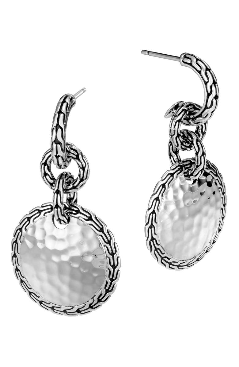 JOHN HARDY Classic Chain Hammered Silver Drop Earrings, Main, color, 040