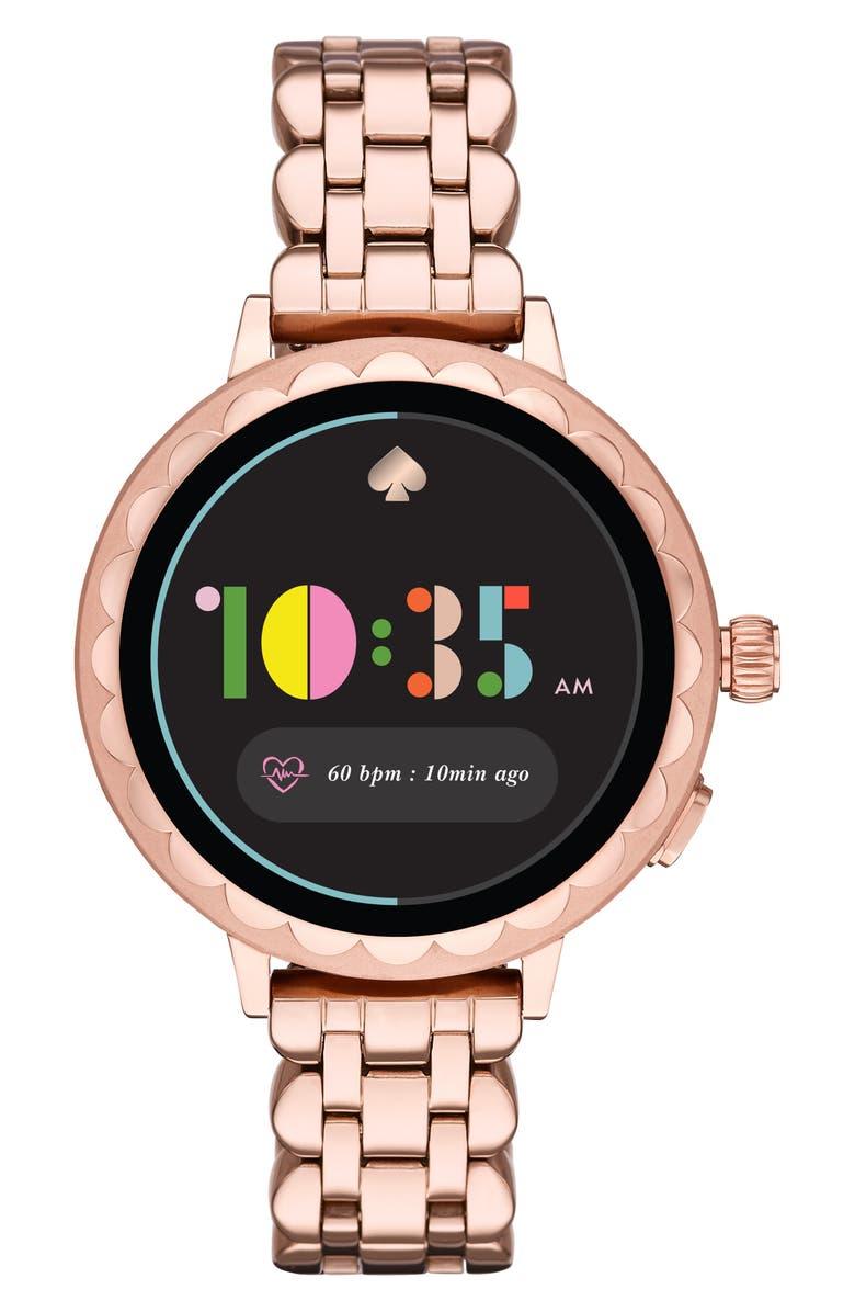 KATE SPADE NEW YORK raven scallop smart bracelet watch, 42mm, Main, color, ROSE GOLD/ BLACK/ ROSE GOLD