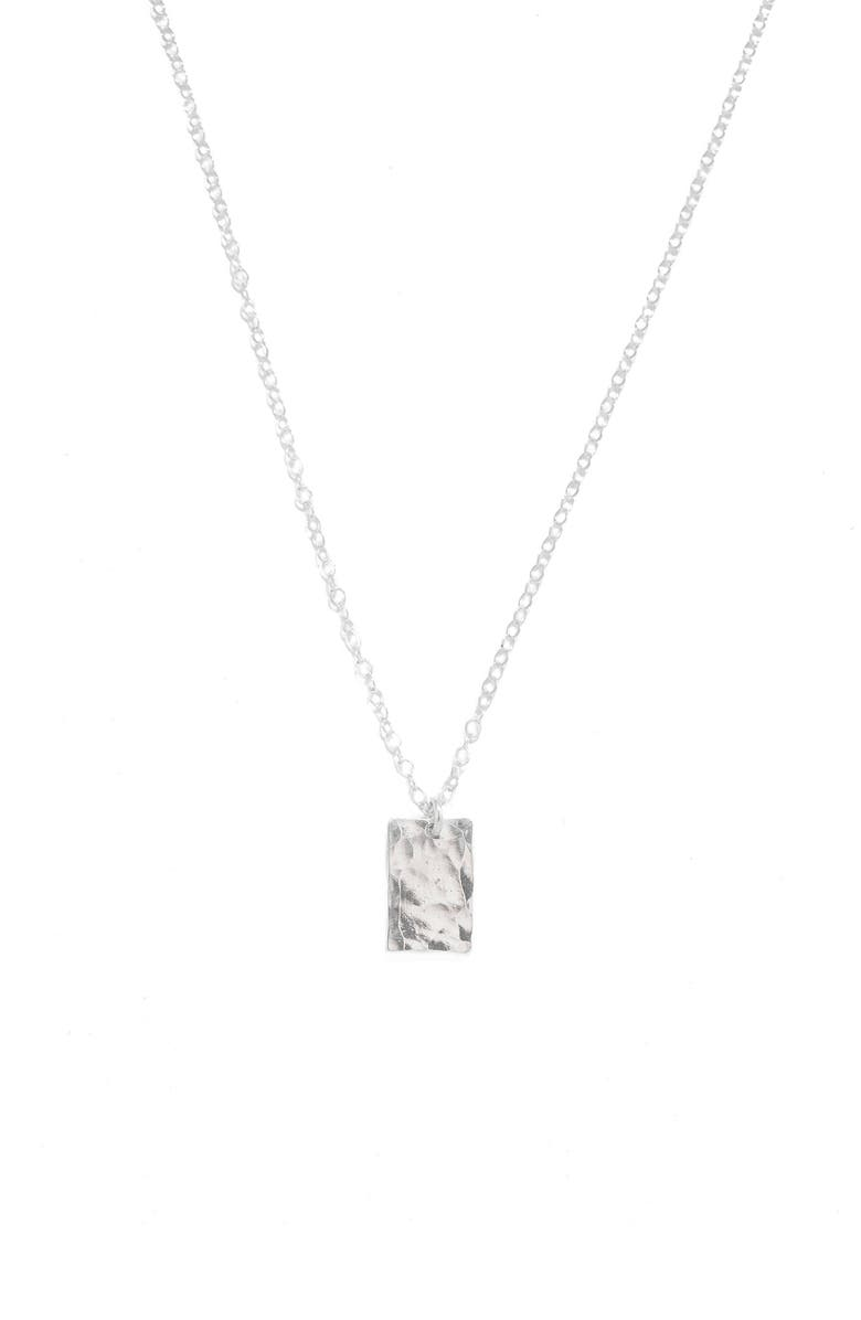 TERESSA LANE JEWELRY Hammered Rectangle Pendant Necklace, Main, color, SILVER