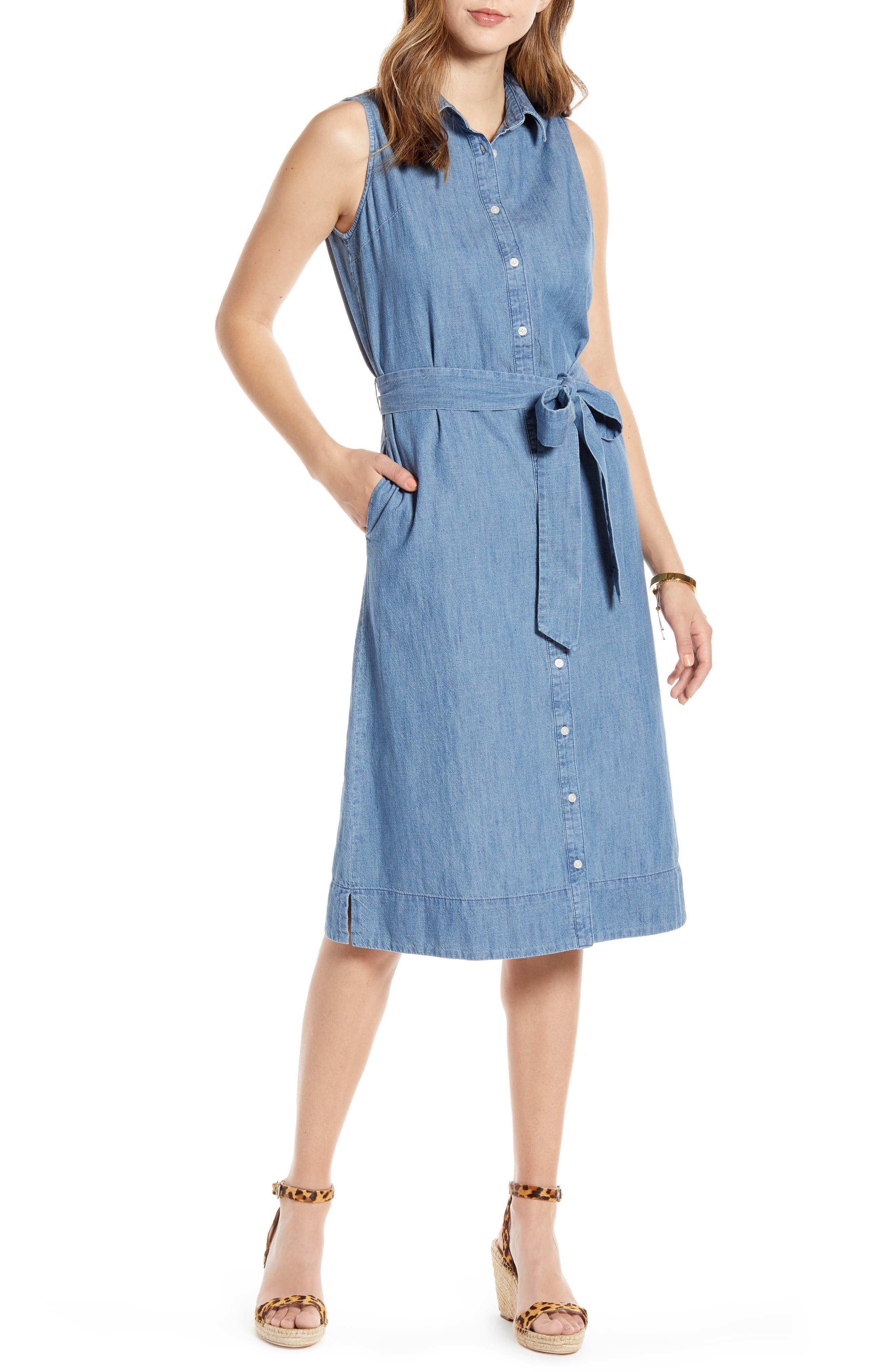 Petite 1901 Sleeveless Cotton Chambray Shirtdress, Blue