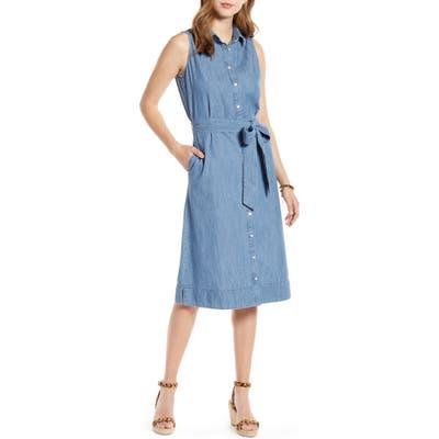 1901 Sleeveless Cotton Chambray Shirtdress, Blue