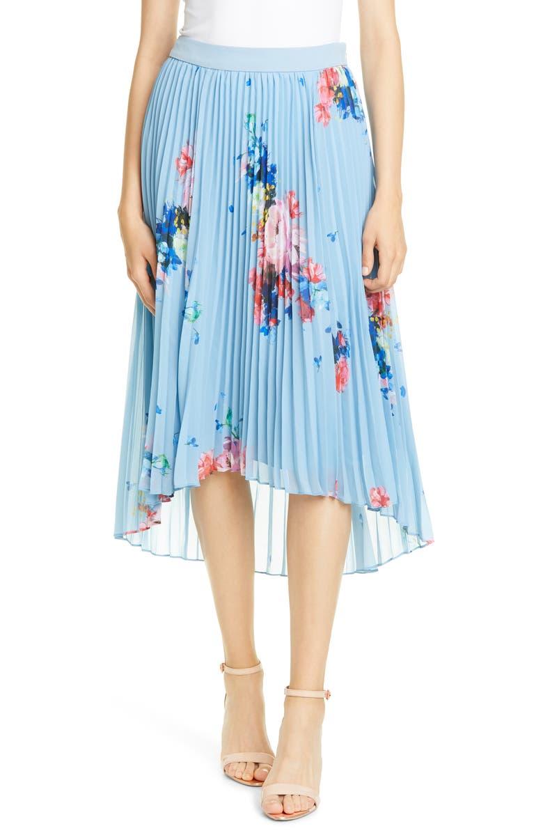 TED BAKER LONDON Harrpa Raspberry Ripple Asymmetrical Pleated Skirt, Main, color, LIGHT BLUE