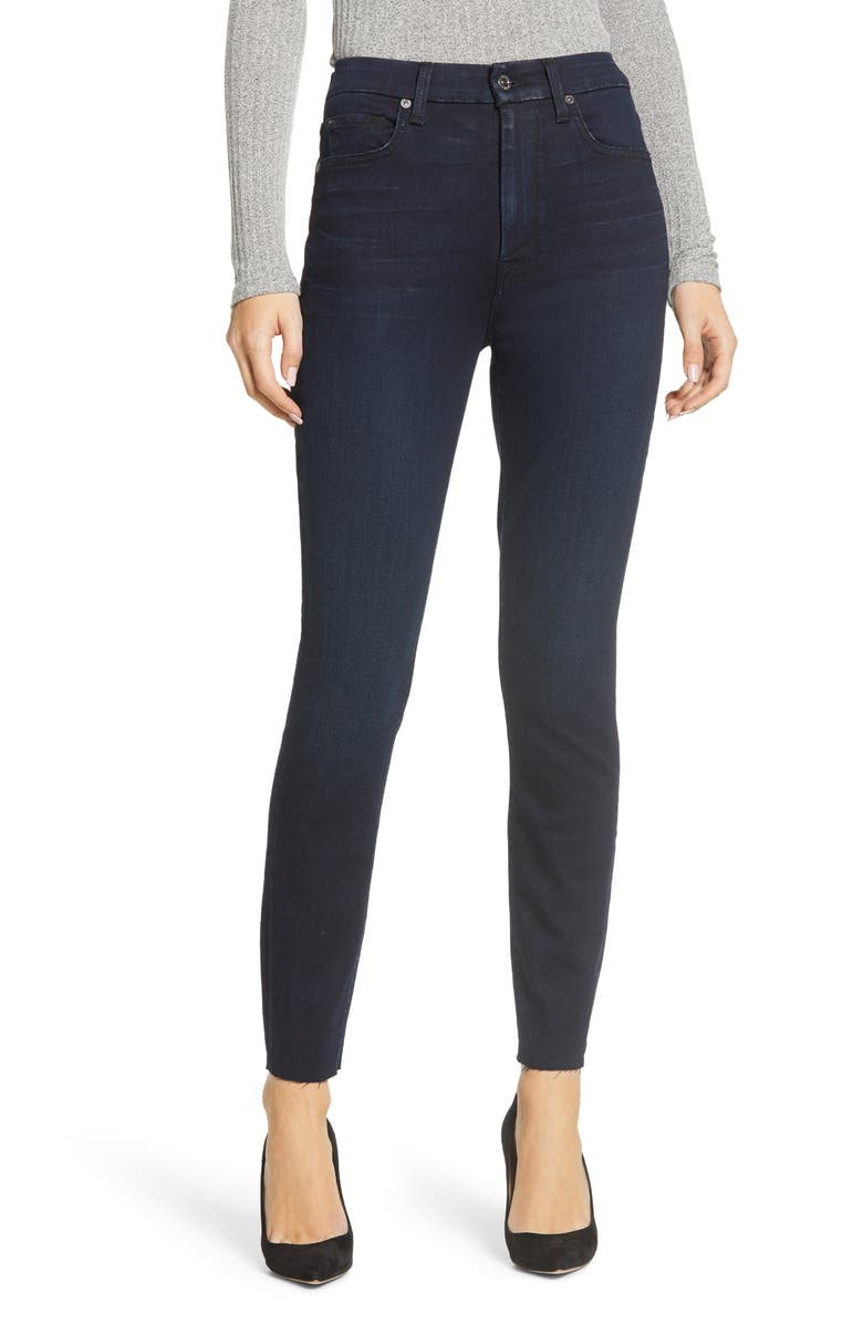 7 FOR ALL MANKIND<SUP>®</SUP> High Waist Cut Hem Ankle Skinny Jeans, Main, color, TRINITY RIVER BLUE