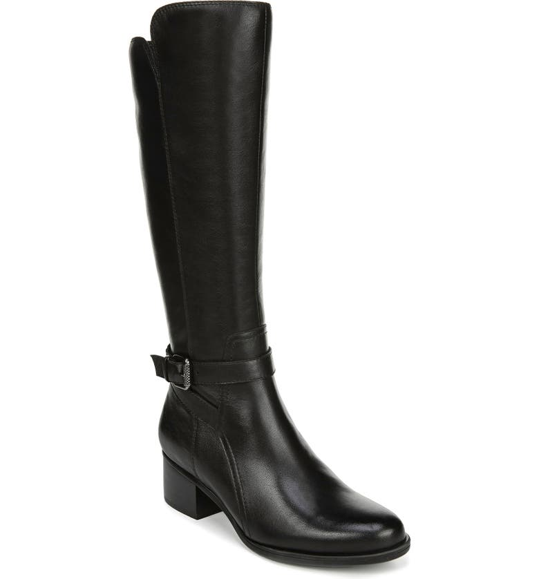 NATURALIZER Demetria Tall Boot, Main, color, BLACK LEATHER