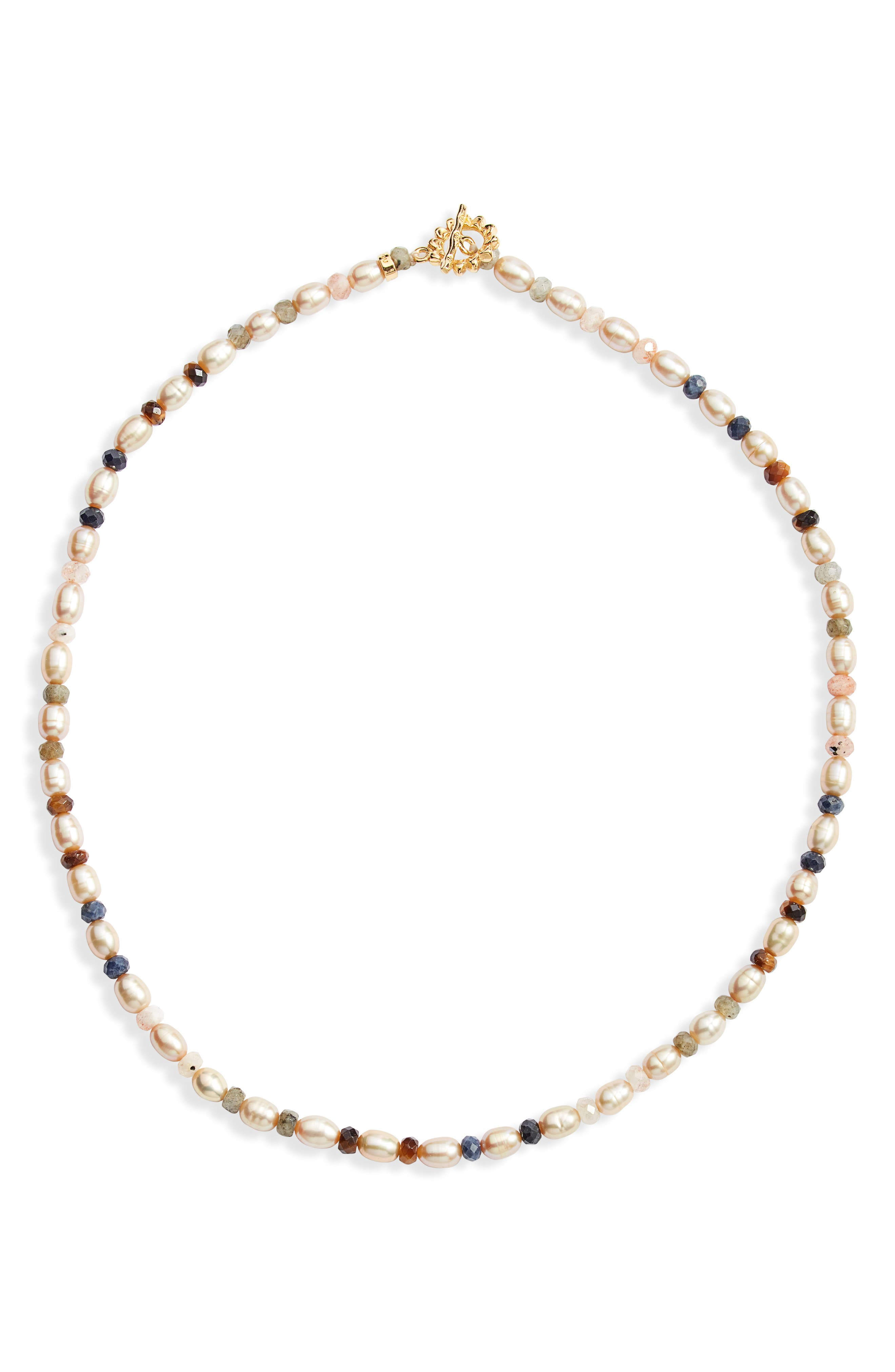 Freshwater Pearl & Stone Beaded Necklace