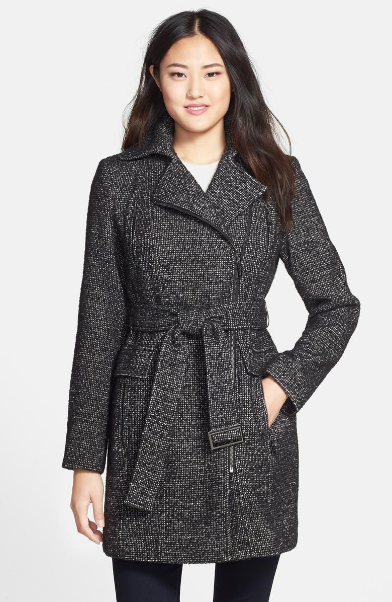 CALVIN KLEIN Belted Asymmetrical Tweed Coat, Main, color, 001