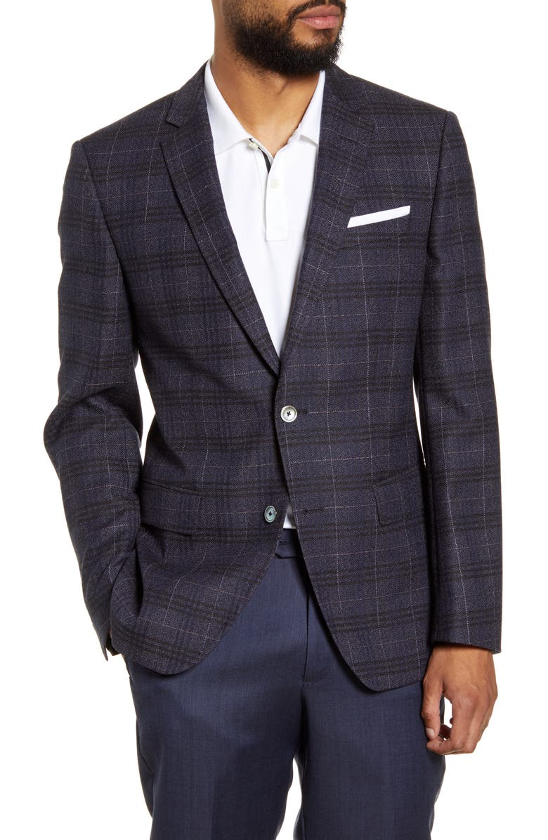 BOSS Hutsons Trim Fit Plaid Wool Sport Coat, Main, color, DARK RED