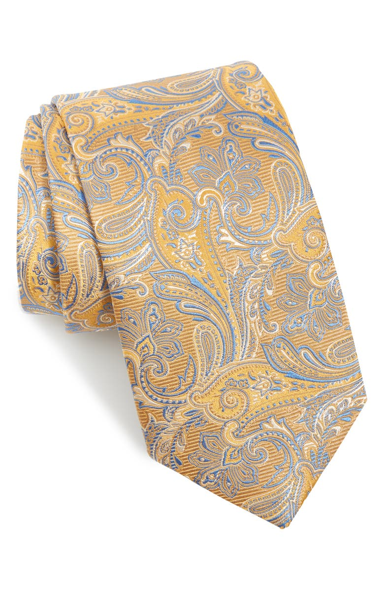 ETON Paisley Silk Tie, Main, color, YELLOW