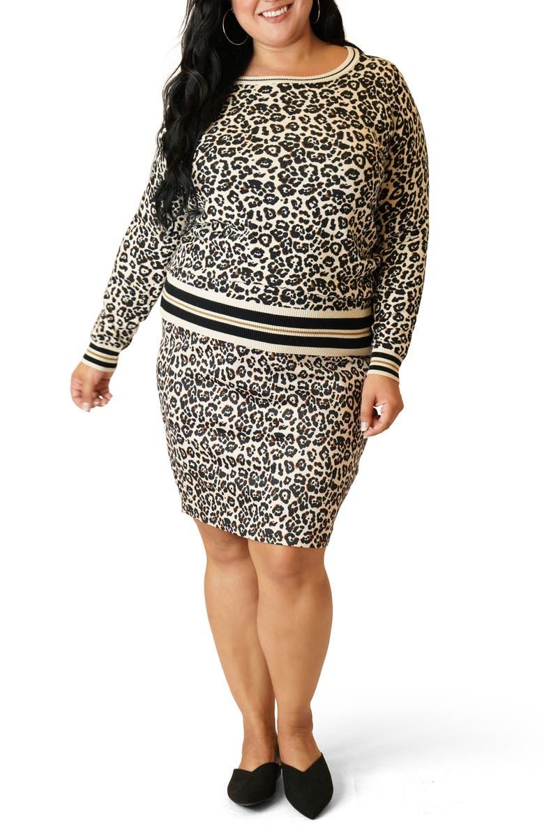 MARÉE POUR TOI Leopard Print Sweater & Skirt Set, Main, color, ANIMAL PRINT