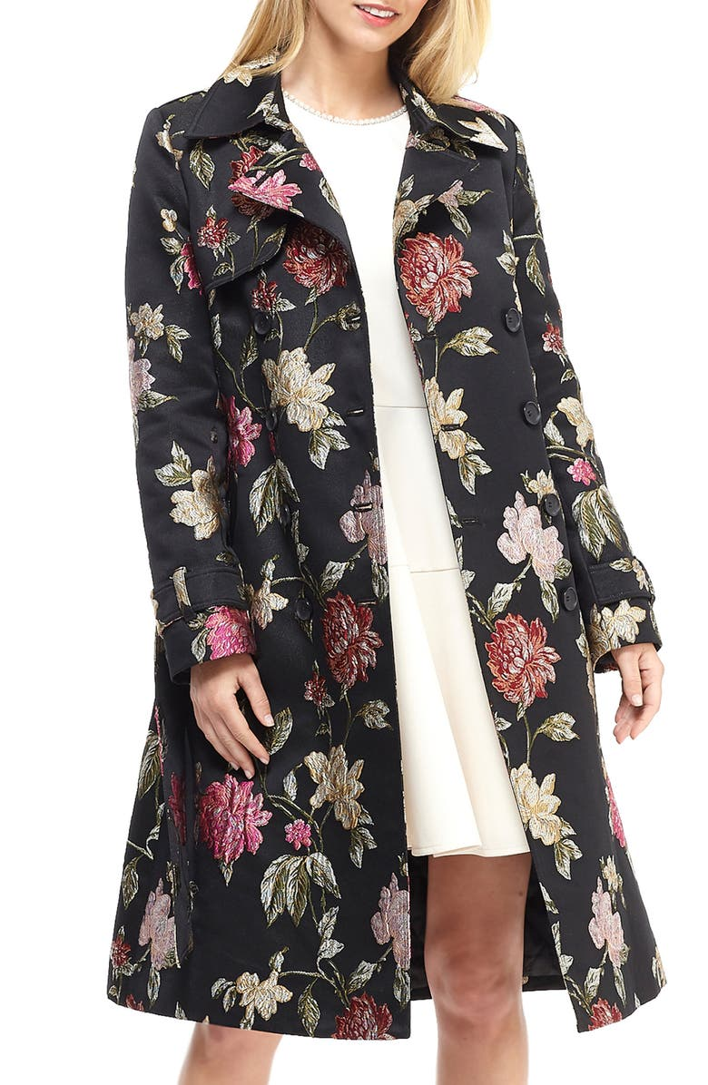 Dominique Floral Jacquard Trench Coat by Gal Meets Glam Collection