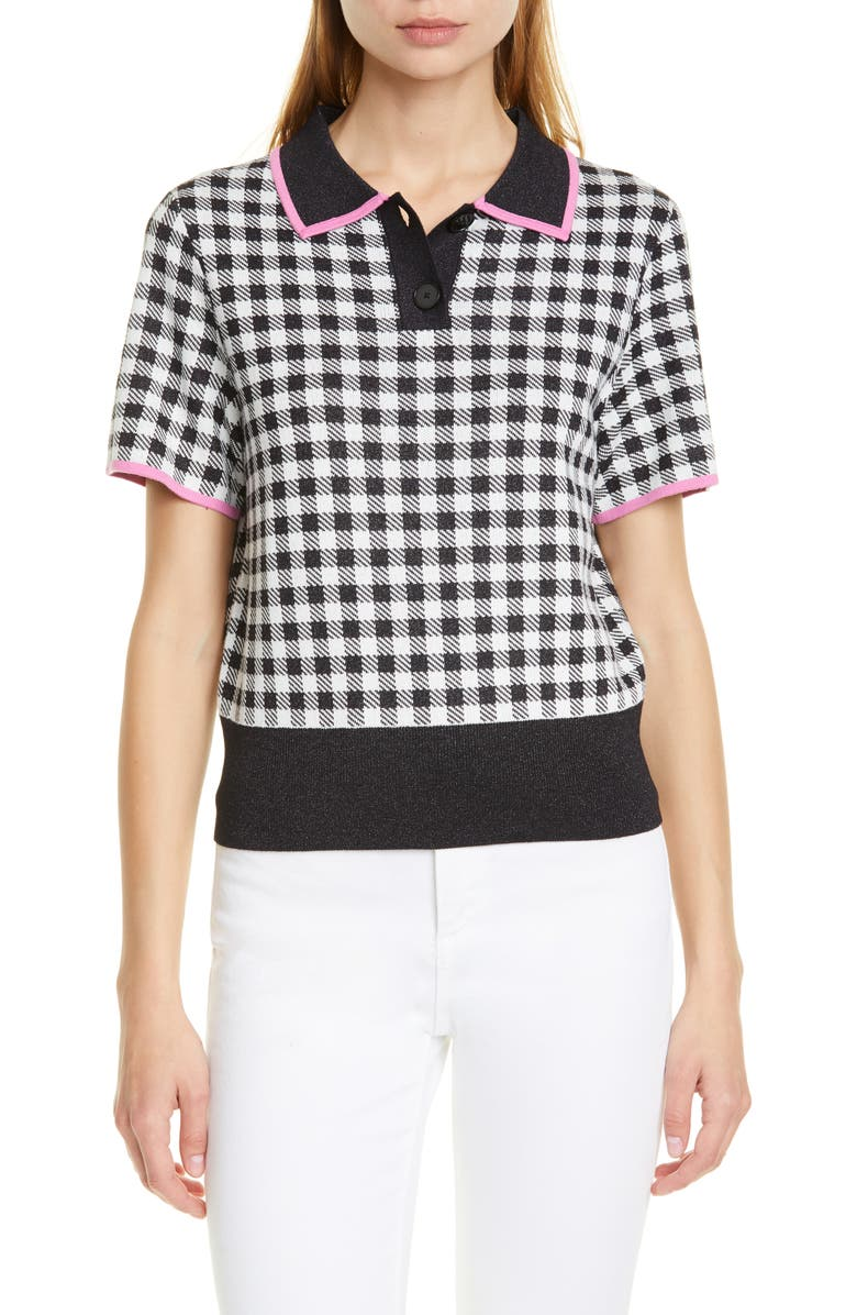KATE SPADE NEW YORK summer polo sweater, Main, color, BLACK