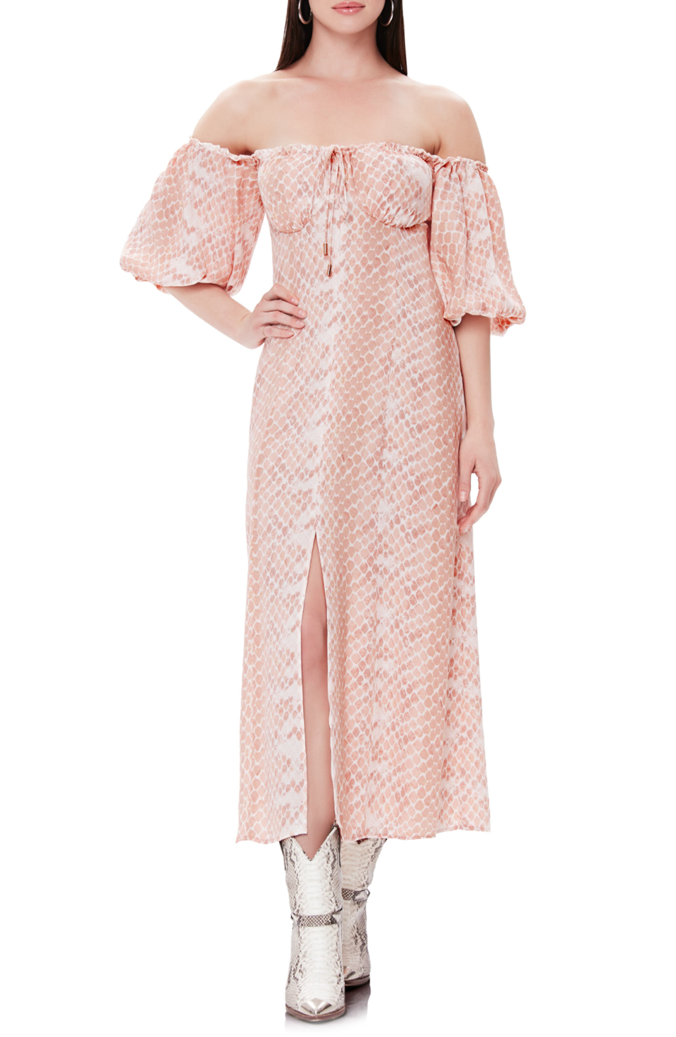 Afrm Marta Off The Shoulder Midi Dress, Pink