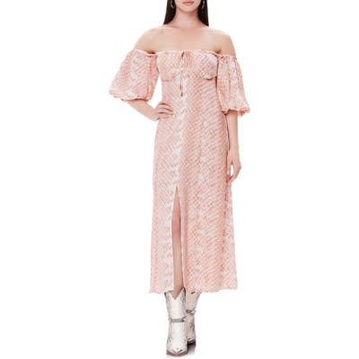 Afrm Marta Off The Shoulder Midi Dress, Pink