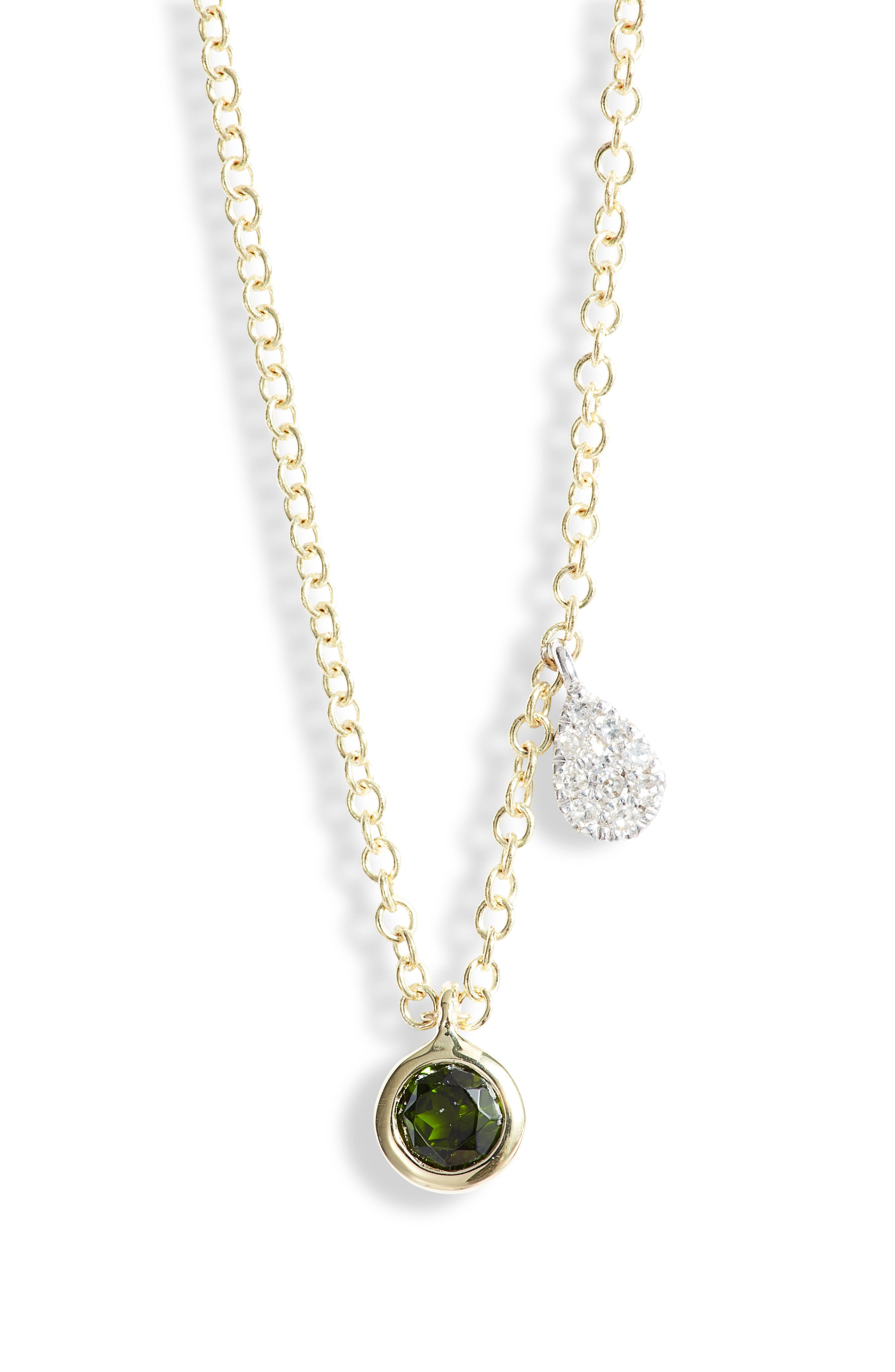 Diopside & Diamond Charm Necklace
