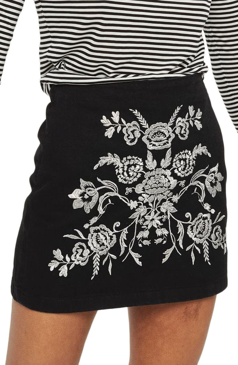 TOPSHOP Floral Embroidered A-Line Skirt, Main, color, 001