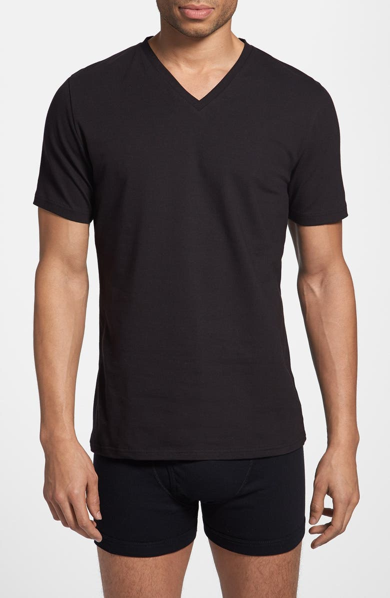 BREAD & BOXERS 'Relaxed' V-Neck T-Shirt, Main, color, DNUBLACK