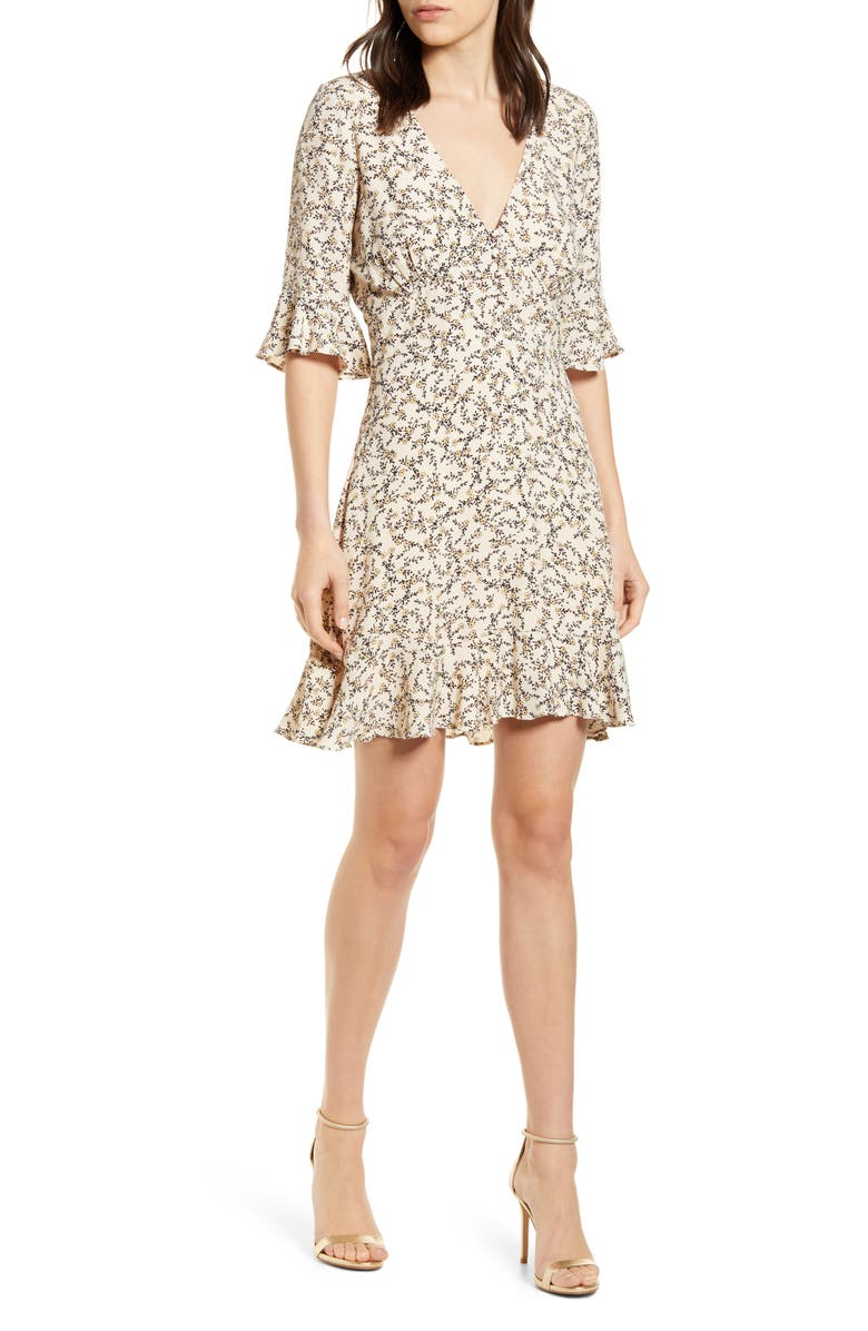 CUPCAKES AND CASHMERE Roxybury Ruffle Crepe Dress, Main, color, CAMEO ROSE