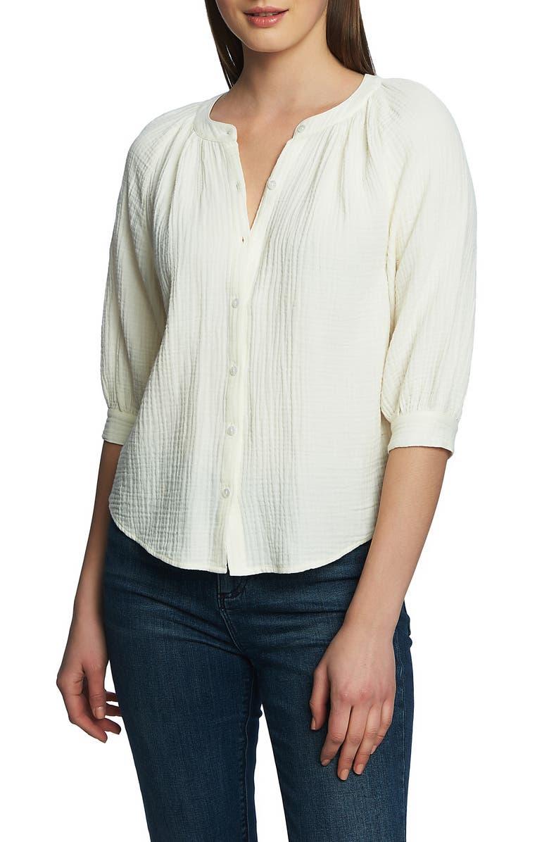 1.STATE Button Up Cotton Gauze Blouse, Main, color, 100