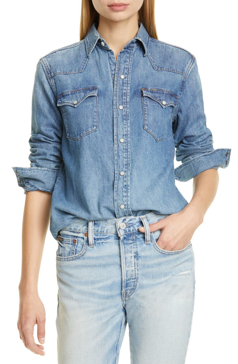 POLO RALPH LAUREN Western Denim Shirt, Main, color, BLUE