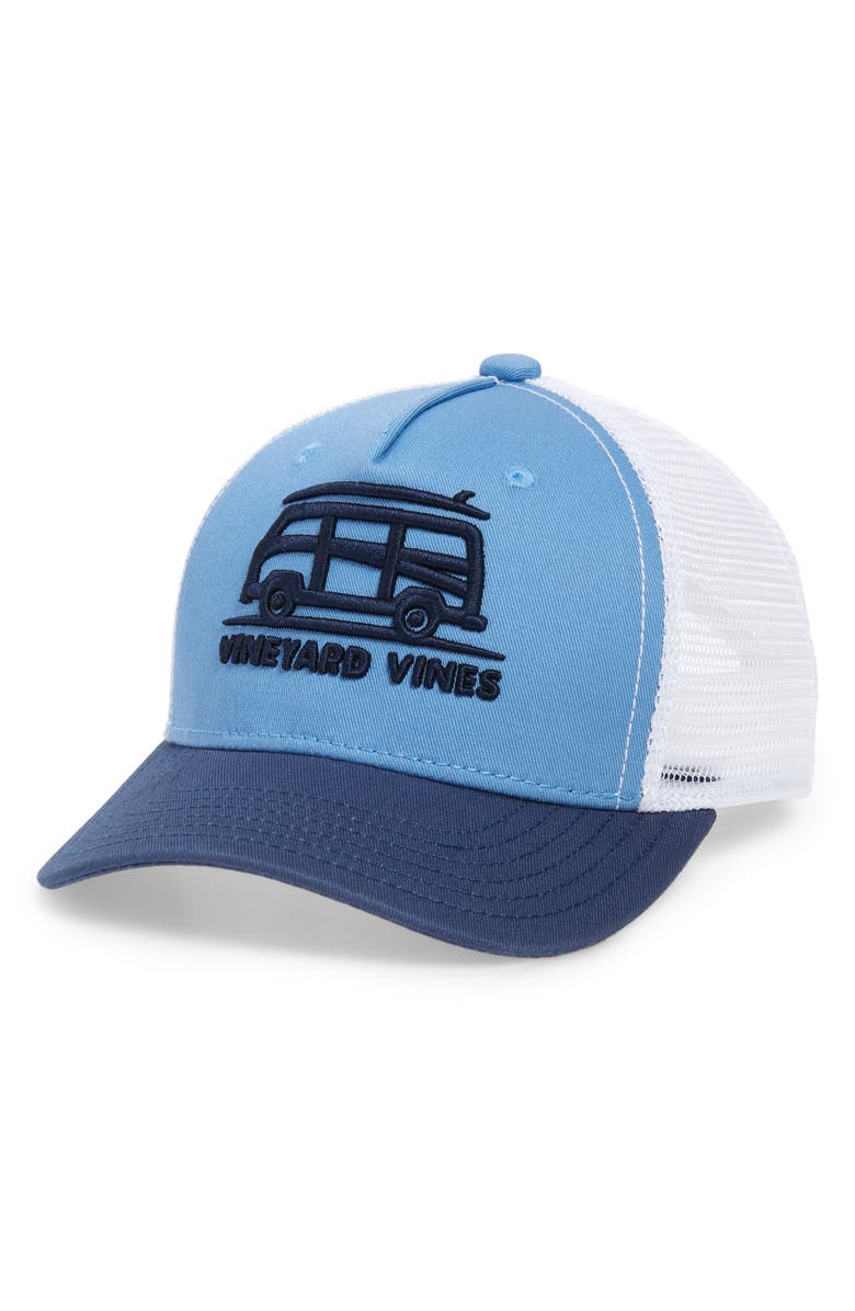 VINEYARD VINES Bus & Surf Embroidered Trucker Hat, Main, color, COASTLINE